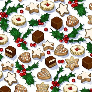 Traditional Christmas Cookies with Holly Berries small print