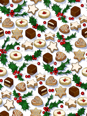 Traditional Christmas Cookies with Holly Berries large print