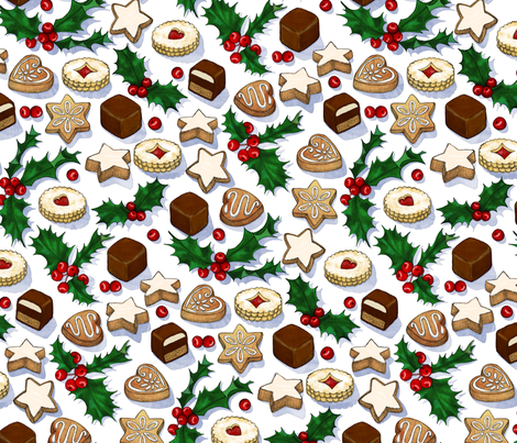 Traditional Christmas Cookies with Holly Berries large print fabric by micklyn on Spoonflower - custom fabric