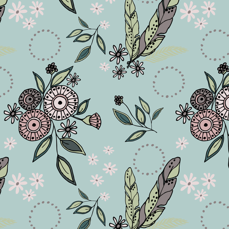 Daisy  & Feather - Dusty Aqua - Sm fabric by fernlesliestudio on Spoonflower - custom fabric