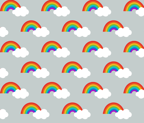 Rainbows and clouds on grey fabric by hazel_fisher_creations on Spoonflower - custom fabric