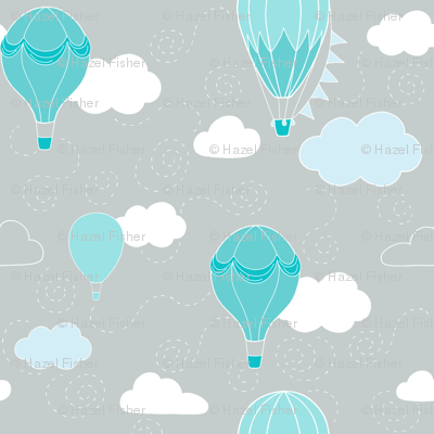 Hot Air Balloons - Grey and Teal