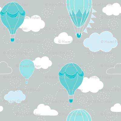 Hot Air Balloons - Grey and Teal