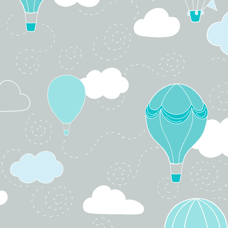 Hot Air Balloons - Grey and Teal fabric by hazelfishercreations on Spoonflower - custom fabric