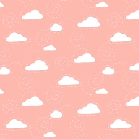Clouds White on Coral fabric by hazel_fisher_creations on Spoonflower - custom fabric
