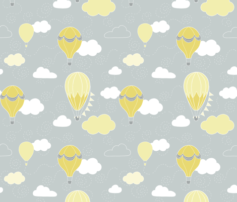 Hot Air Balloons - Grey and Yellow fabric by hazel_fisher_creations on Spoonflower - custom fabric
