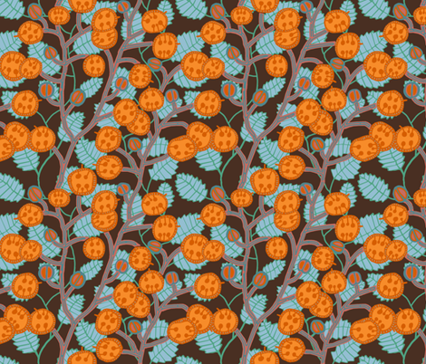 money plant with [yam + honey] seed pods and [fire + dew] stalks fabric by kheckart on Spoonflower - custom fabric