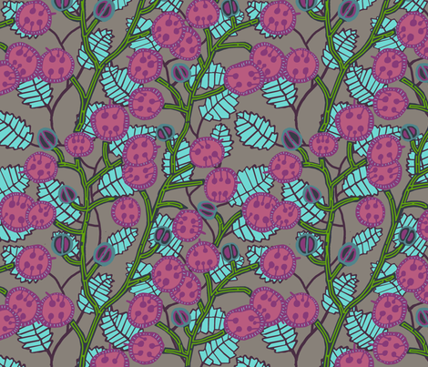 money plant with [shrimp + magenta] seed pods and [kelp + asparagus] stalks fabric by kheckart on Spoonflower - custom fabric