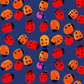 ladybug darkblue Braille polka dot
