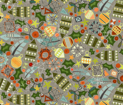 vintage christmas silver fabric by scrummy on Spoonflower - custom fabric