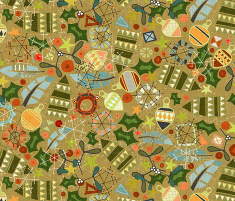 vintage christmas gold fabric by scrummy on Spoonflower - custom fabric
