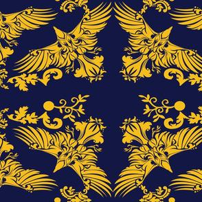 Damask Raven on Blue 5inch