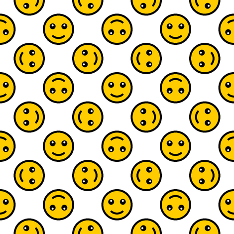 faces in the crowd 4gX happy smiley fabric by sef on Spoonflower - custom fabric