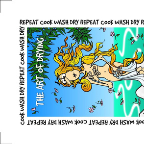Birth of Venus with blue green background