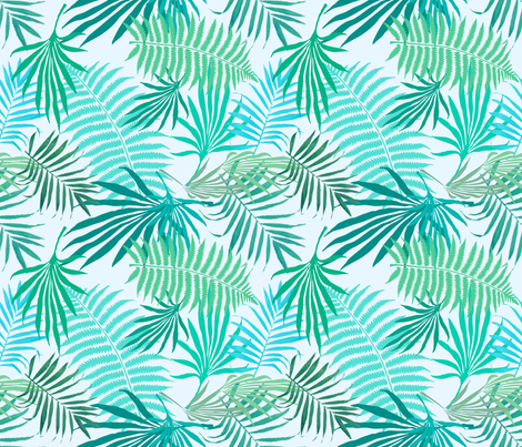 Sea Green Palms fabric by bluevelvet on Spoonflower - custom fabric