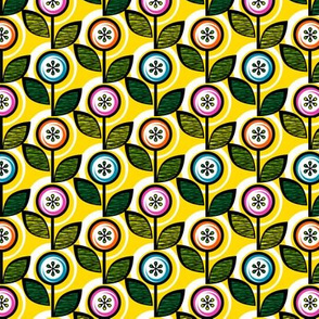Footnote Flower (Mini Yellow) || midcentury modern garden floral flowers leaves nature spring summer
