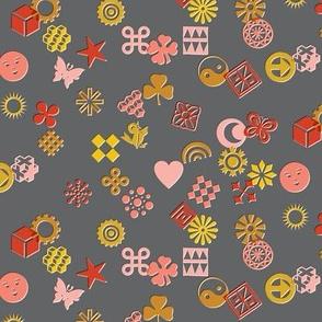 Match Game* (Pinks on Pepper Pot) || typography ornaments symbols pictographs toss starburst geometric star butterfly bird sun shamrock flower heart scatter