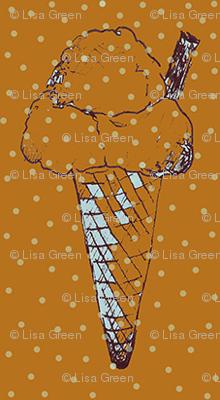 ice cream with flake and lemon polka dots