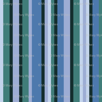 BN3 - Narrow Variegated Stripes in Rustic Blues and Greens