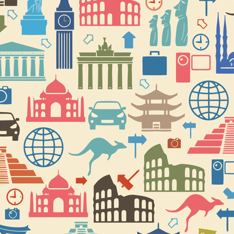 Travel Icons - Large Scale fabric by lunastone_crafts on Spoonflower - custom fabric