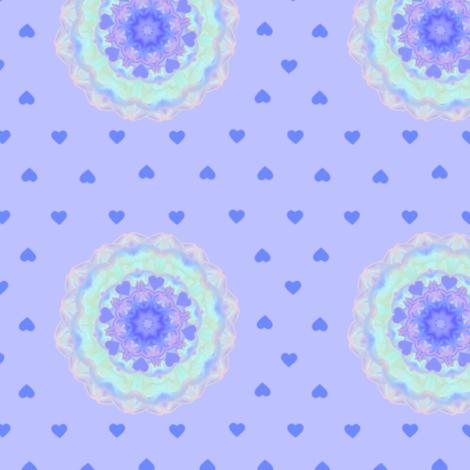 Swirl_Flower_on_Blue_BG_1 fabric by karwilbedesigns on Spoonflower - custom fabric