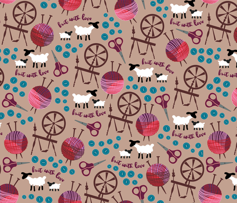 Knit with love fabric by dearchickie on Spoonflower - custom fabric