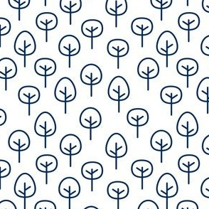 PNW - Trees Navy on White