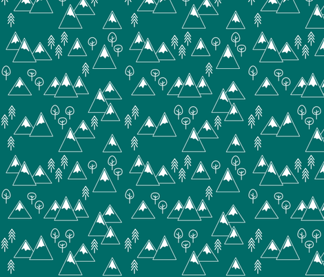 PNW - Mountains & Trees White on Emerald fabric by cavutoodesigns on Spoonflower - custom fabric