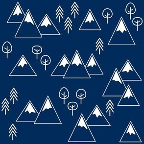 PNW - Mountains & Trees White on Navy