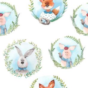 Cute animals medallions