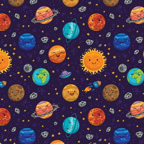 Happy space fabric by penguinhouse on Spoonflower - custom fabric