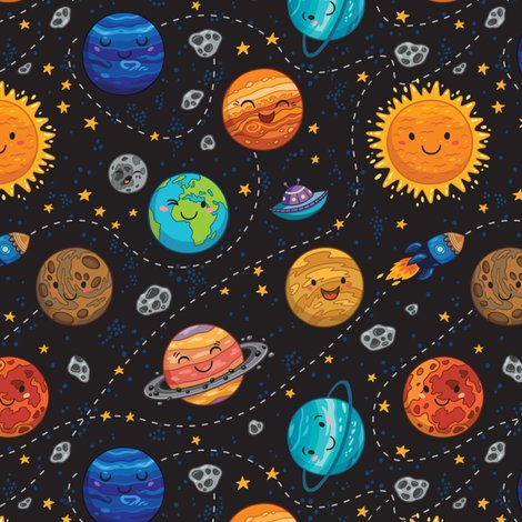 Cute Planets Fabric Penguinhouse Spoonflower