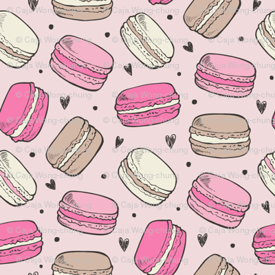 Macarons Sweets Candy on Pink Smal Tiny 0,75 inch