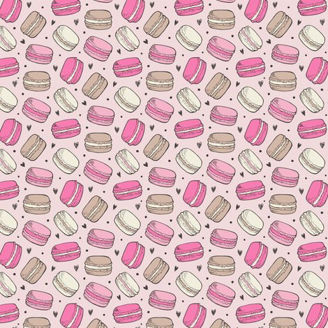 Macarons Sweets Candy on Pink Smal Tiny 0,75 inch fabric by caja_design on Spoonflower - custom fabric