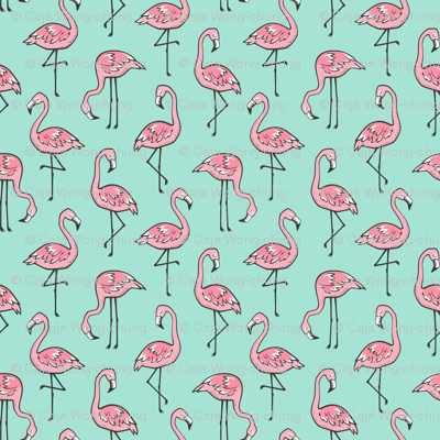 Flamingos Pink on Mint Green Smaller 1,5 inch small tiny