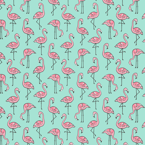 Flamingos Pink on Mint Green Smaller 1,5 inch small tiny fabric by caja_design on Spoonflower - custom fabric