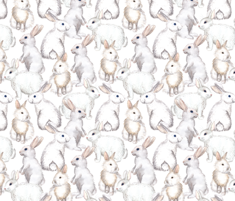 White rabbits fabric by svetlana_prikhnenko on Spoonflower - custom fabric