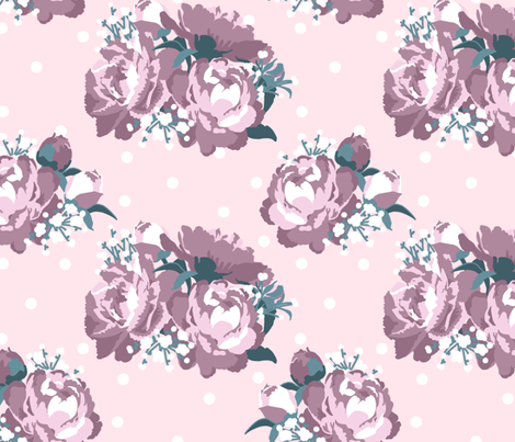 Peonies (tea rose) fabric by mezzo on Spoonflower - custom fabric