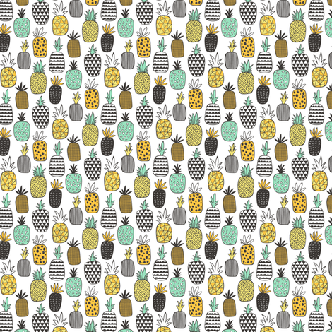 Pineapple Geometric on White Tiny Small fabric by caja_design on Spoonflower - custom fabric