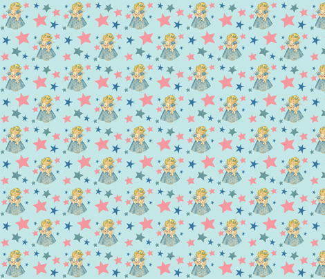 Starry Angel Lamb Blue fabric by maidmarianmade on Spoonflower - custom fabric