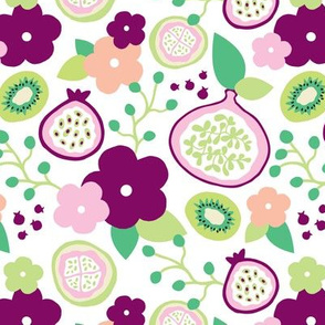 Summer fruit garden tropical flowers passion fruit fig  and dragon kiwi pink green