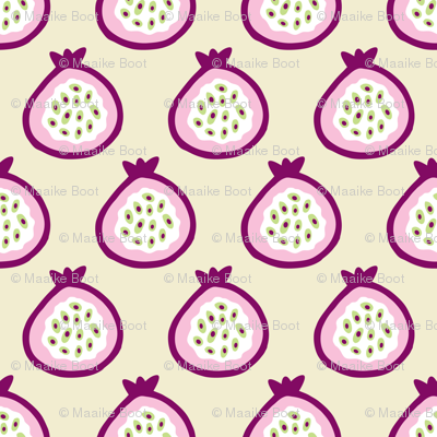 Summer fruit garden tropical passion fruit fig  and dragon fruit pink
