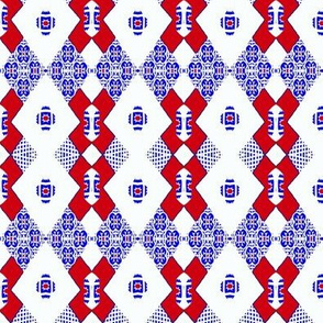 Tiles in Blue and Red
