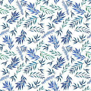 twigs and leaves in blue