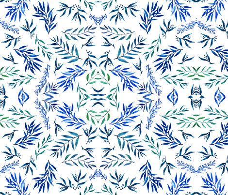 blue and blue leaves & twigs fabric by tangledpen on Spoonflower - custom fabric
