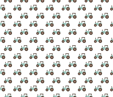 Super cool kids tractor farm truck country side adventures mint brown retro fabric by littlesmilemakers on Spoonflower - custom fabric