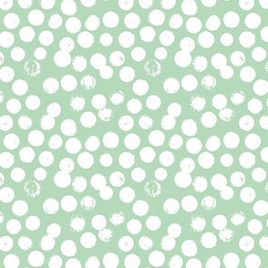 Pastel love brush circles, spots and dots and spots hand drawn ink illustration pattern scandinavian style in soft mint green