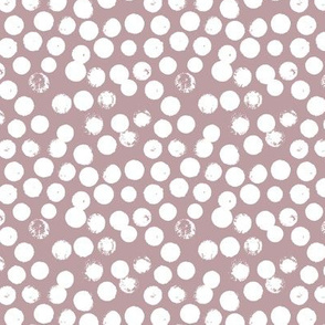 Pastel love brush circles, spots and dots and spots hand drawn ink illustration pattern scandinavian style in soft lilac gray