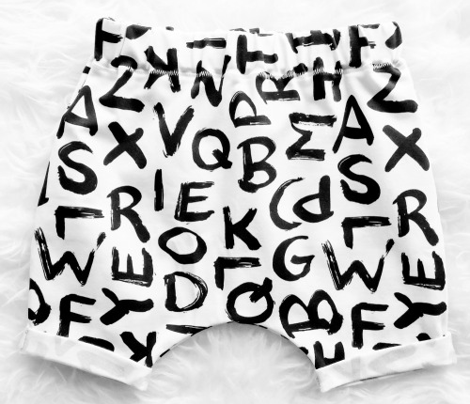 Raw monochrome brush strokes abc alphabet scandinavian abstract style black and white