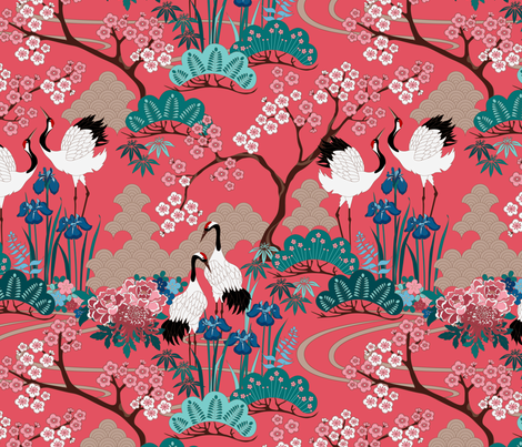 gueth_japanese_garden_red fabric by juditgueth on Spoonflower - custom fabric